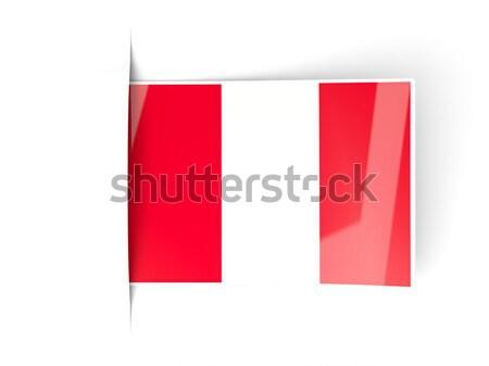 Kare etiket bayrak Peru yalıtılmış beyaz Stok fotoğraf © MikhailMishchenko