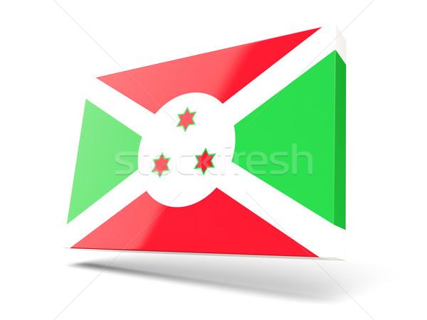 Praça ícone bandeira Burundi isolado branco Foto stock © MikhailMishchenko