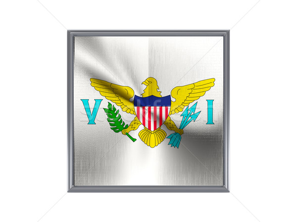 Square metal button with flag of virgin islands us Stock photo © MikhailMishchenko