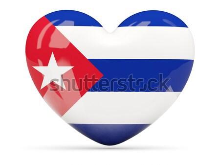 Ikon zászló Kuba fényes felirat fehér Stock fotó © MikhailMishchenko