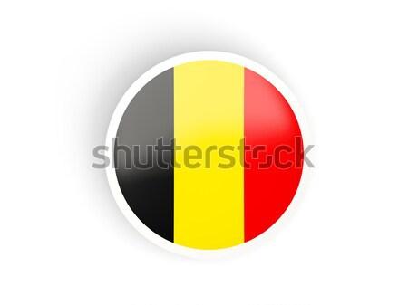 Etiqueta bandera Bélgica aislado blanco viaje Foto stock © MikhailMishchenko