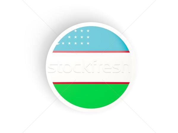 Matrica zászló Üzbegisztán izolált fehér utazás Stock fotó © MikhailMishchenko