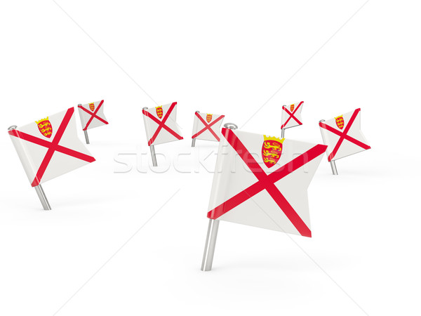 Square pins with flag of jersey Stock photo © MikhailMishchenko