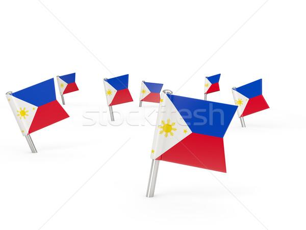Kare bayrak Filipinler yalıtılmış beyaz ülke Stok fotoğraf © MikhailMishchenko