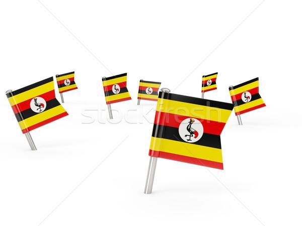 Carré pavillon Ouganda isolé blanche pays Photo stock © MikhailMishchenko