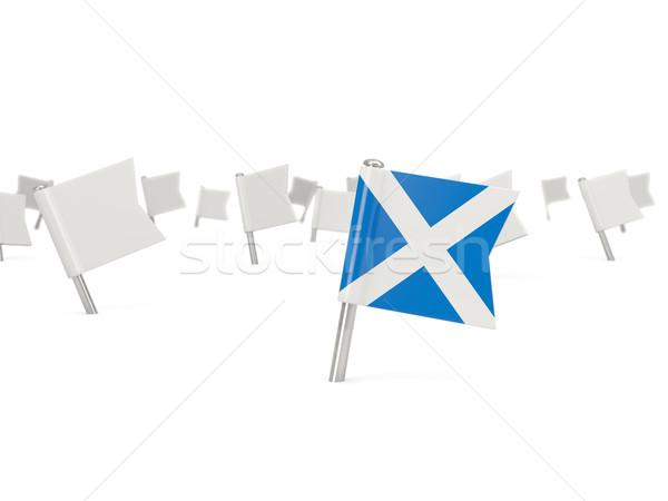 Vierkante pin vlag Schotland geïsoleerd witte Stockfoto © MikhailMishchenko