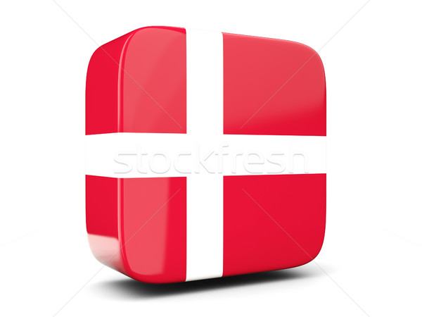 Vierkante icon vlag Denemarken 3d illustration geïsoleerd Stockfoto © MikhailMishchenko