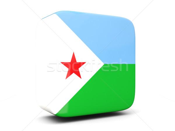 Placu ikona banderą Dżibuti 3d ilustracji odizolowany Zdjęcia stock © MikhailMishchenko