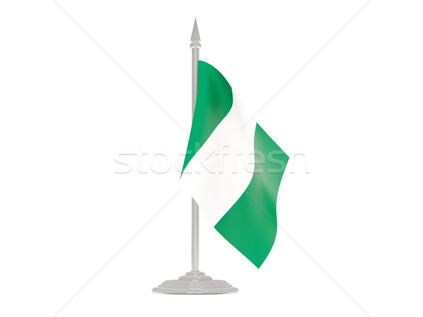 Bandera Nigeria asta de bandera 3d aislado blanco Foto stock © MikhailMishchenko