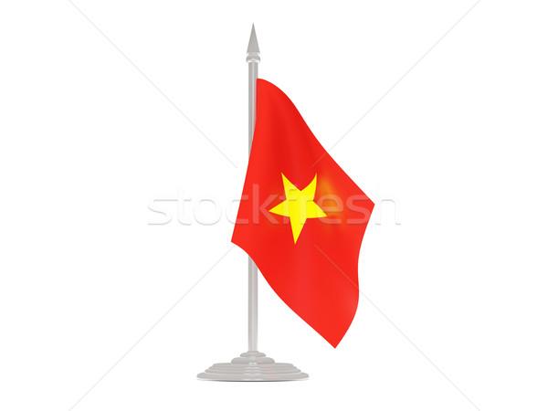 Banderą Wietnam maszt 3d odizolowany biały Zdjęcia stock © MikhailMishchenko
