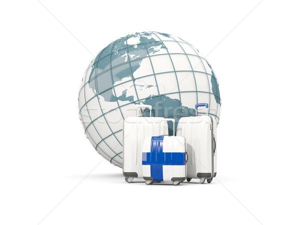 Bagażu banderą trzy torby świecie 3d ilustracji Zdjęcia stock © MikhailMishchenko