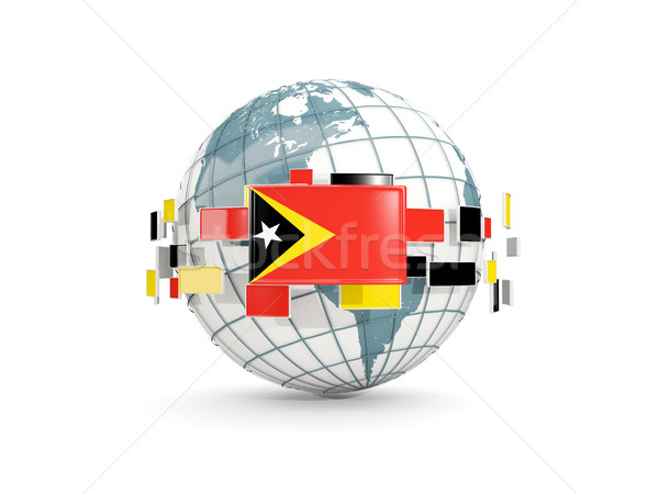 Globe with flag of east timor isolated on white Stock photo © MikhailMishchenko