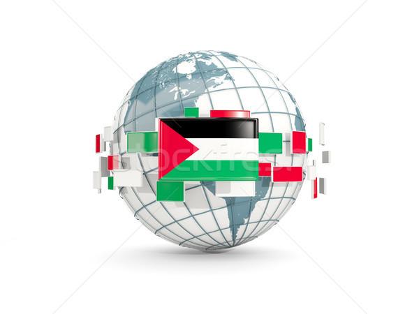 Globe with flag of palestinian territory isolated on white Stock photo © MikhailMishchenko