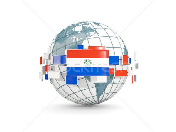 świecie banderą odizolowany biały 3d ilustracji Pokaż Zdjęcia stock © MikhailMishchenko