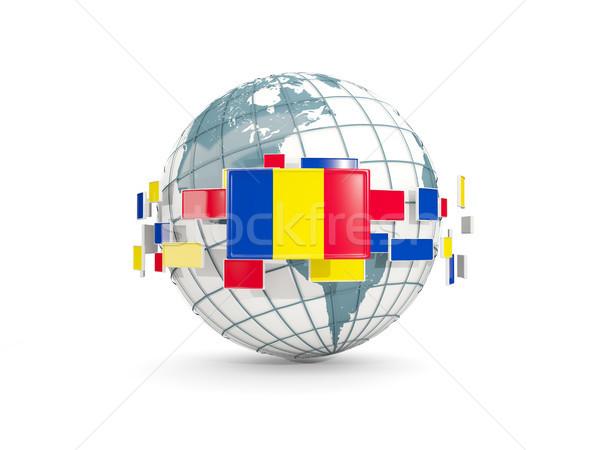Globe with flag of romania isolated on white Stock photo © MikhailMishchenko