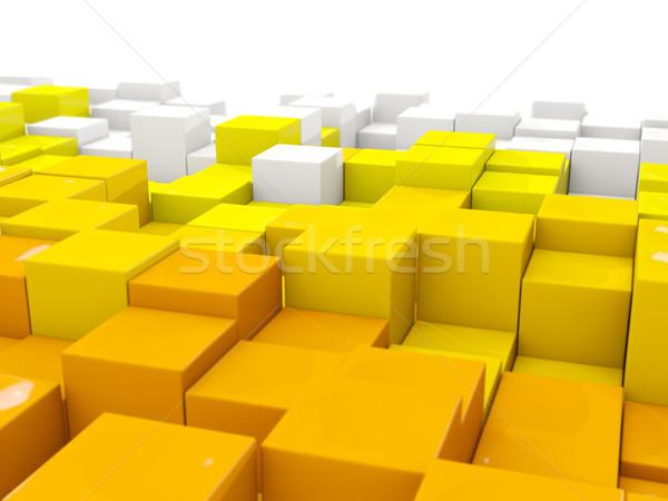 белый желтый шестиугольник шаблон 3d иллюстрации фон Сток-фото © MikhailMishchenko