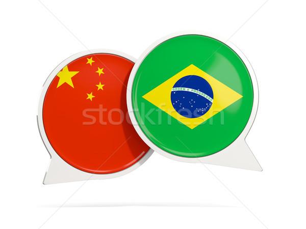 Chat bubbels China Brazilië geïsoleerd witte Stockfoto © MikhailMishchenko