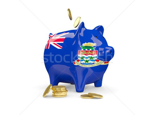 Fat piggy bank with fag of cayman islands Stock photo © MikhailMishchenko
