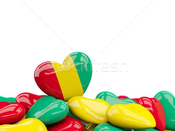 Szív zászló Guinea felső szívek izolált Stock fotó © MikhailMishchenko