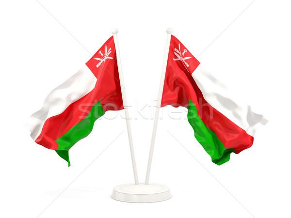 два флагами Оман изолированный белый Сток-фото © MikhailMishchenko