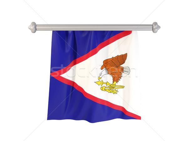 Vlag Amerikaans Samoa geïsoleerd witte 3d illustration label Stockfoto © MikhailMishchenko