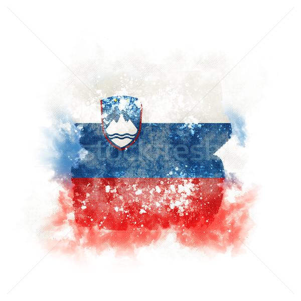 квадратный Гранж флаг Словения 3d иллюстрации ретро Сток-фото © MikhailMishchenko