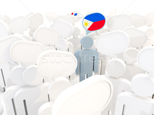 Man with flag of philippines in a crowd Stock photo © MikhailMishchenko