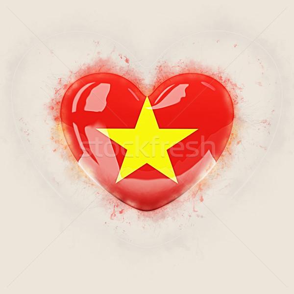 сердце флаг Вьетнам Гранж 3d иллюстрации путешествия Сток-фото © MikhailMishchenko