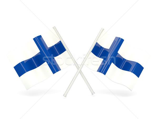 Bandiera Finlandia due ondulato bandiere isolato Foto d'archivio © MikhailMishchenko