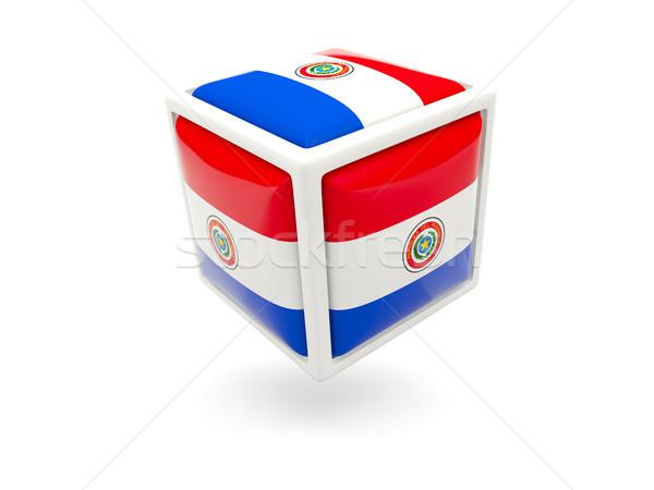 Banderą Paragwaj kostki ikona odizolowany biały Zdjęcia stock © MikhailMishchenko