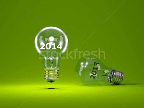 2014 capodanno segno lampadine verde Foto d'archivio © MikhailMishchenko