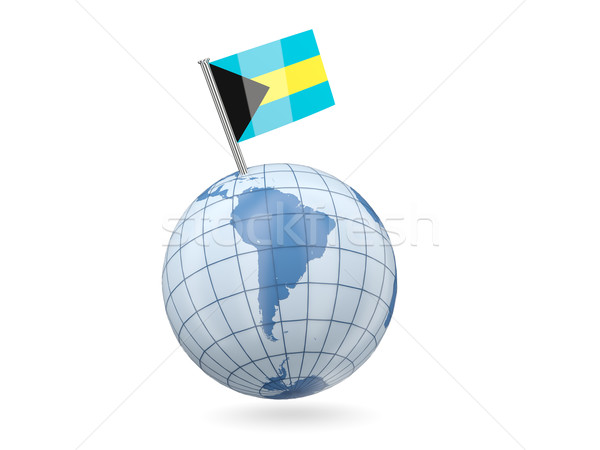 Welt Flagge Bahamas blau isoliert weiß Stock foto © MikhailMishchenko