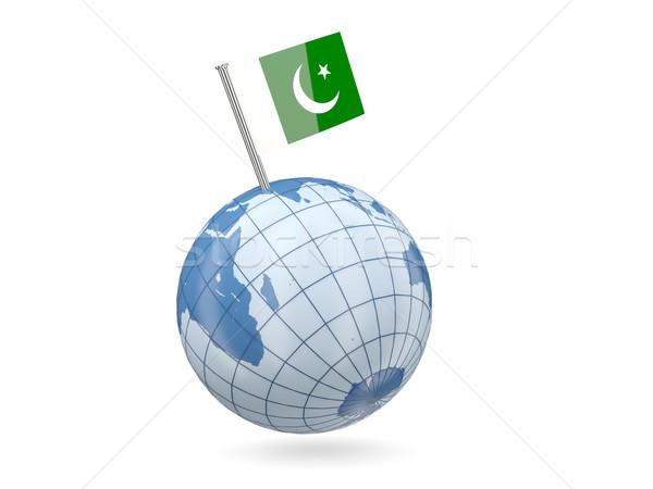 Földgömb zászló Pakisztán kék izolált fehér Stock fotó © MikhailMishchenko