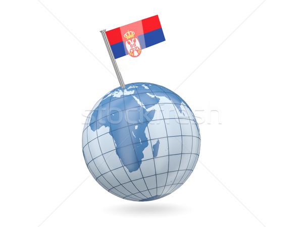 Monde pavillon Serbie bleu isolé blanche Photo stock © MikhailMishchenko