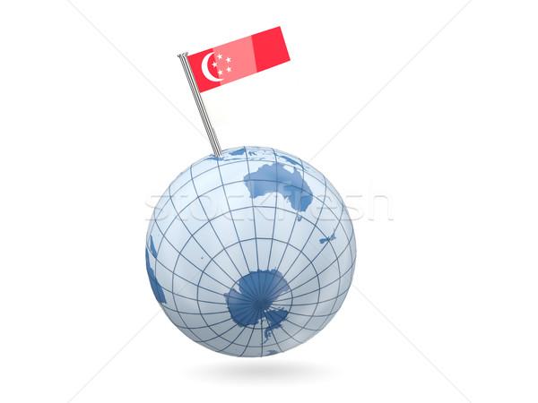 Wereldbol vlag Singapore Blauw geïsoleerd witte Stockfoto © MikhailMishchenko