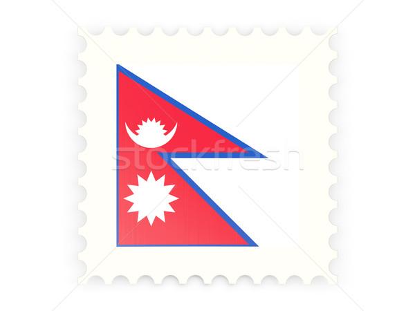 Postabélyeg ikon Nepál izolált fehér felirat Stock fotó © MikhailMishchenko