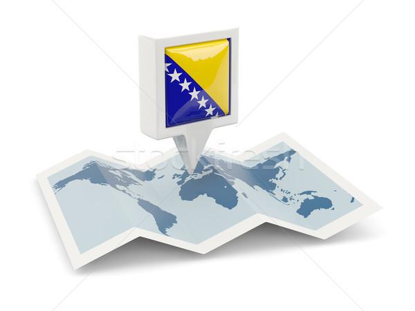 Cuadrados pin bandera Bosnia Herzegovina mapa viaje Foto stock © MikhailMishchenko