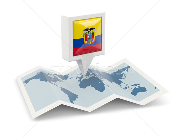 Kare pin bayrak Ekvador harita seyahat Stok fotoğraf © MikhailMishchenko