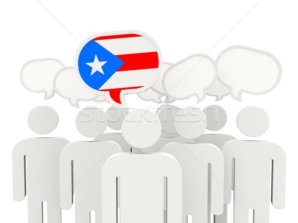 Mensen vlag Puerto Rico geïsoleerd witte vergadering Stockfoto © MikhailMishchenko