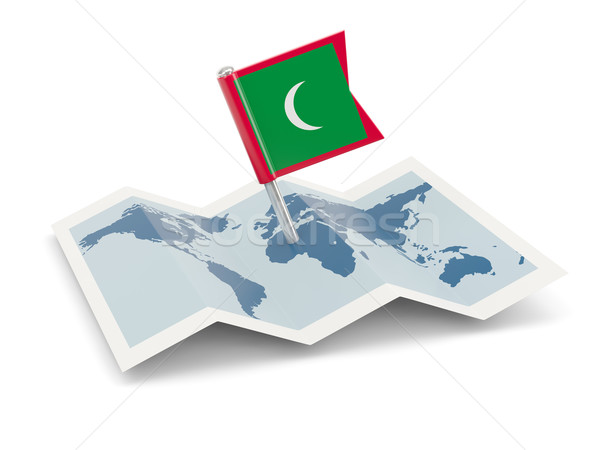 Map with flag of maldives Stock photo © MikhailMishchenko