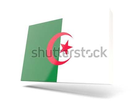квадратный наклейку флаг Алжир изолированный белый Сток-фото © MikhailMishchenko