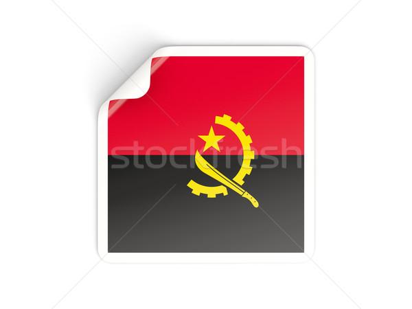Kare etiket bayrak Tiftik dokuma yalıtılmış beyaz Stok fotoğraf © MikhailMishchenko