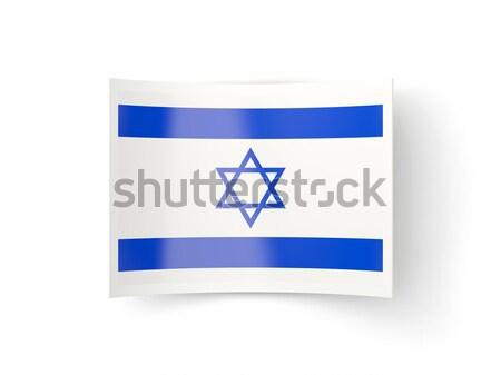 Vierkante sticker vlag Israël geïsoleerd witte Stockfoto © MikhailMishchenko