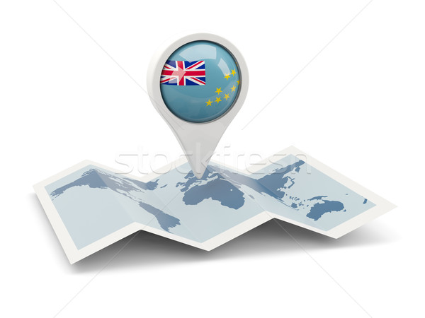 Pin banderą Tuvalu Pokaż podróży biały Zdjęcia stock © MikhailMishchenko