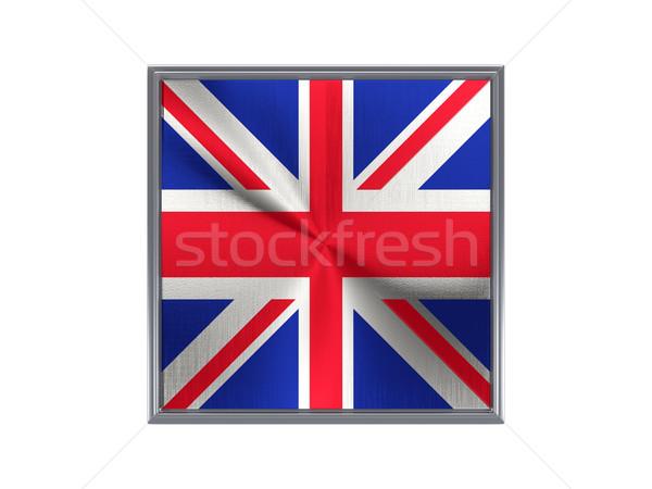Tér fém gomb zászló Egyesült Királyság izolált Stock fotó © MikhailMishchenko