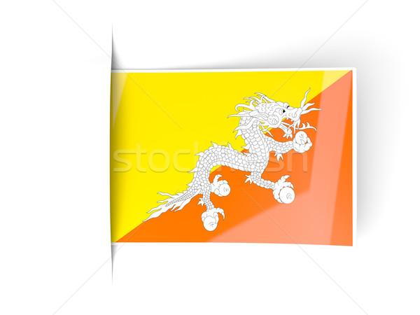 Praça etiqueta bandeira Butão isolado branco Foto stock © MikhailMishchenko