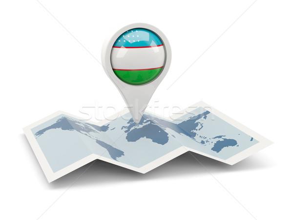 Pin bayrak Özbekistan harita seyahat beyaz Stok fotoğraf © MikhailMishchenko