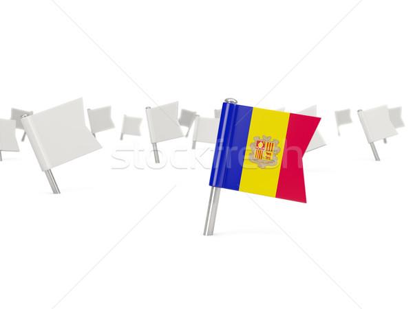 Platz Pin Flagge Andorra isoliert weiß Stock foto © MikhailMishchenko