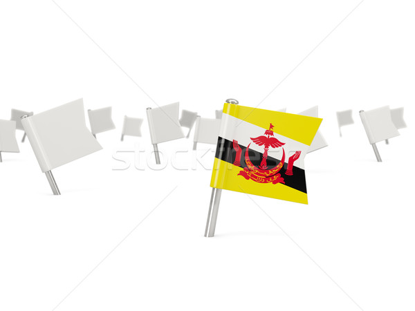 Vierkante pin vlag Brunei geïsoleerd witte Stockfoto © MikhailMishchenko