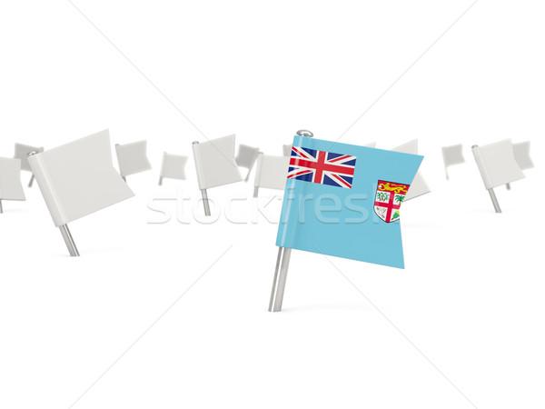 Tér tő zászló Fidzsi-szigetek izolált fehér Stock fotó © MikhailMishchenko